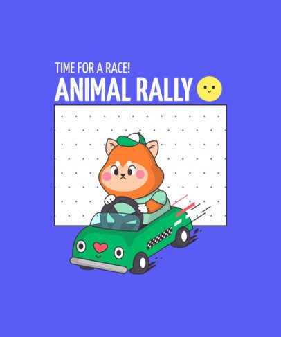 T-Shirt Design Maker with a Kawaii-Style Animal in a Taxi 289d