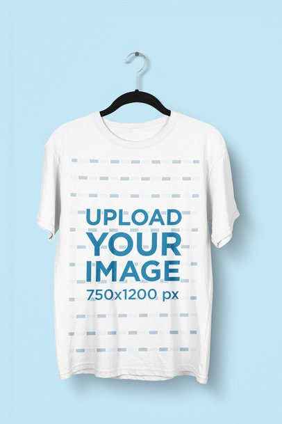 Mockup of a Hanging T-Shirt Featuring a Customizable Background 2898