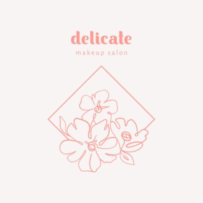 Makeup Salon Logo Generator with Delicate Flower Graphics 2960g
