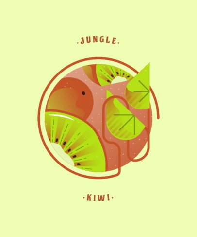 T-Shirt Design Template with an Abstract Kiwi for Fruit Enthusiasts 834c-el1