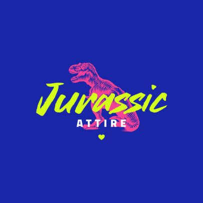 Clothing Brand Logo Maker with Neon Colors and a T-Rex Graphic 2952f