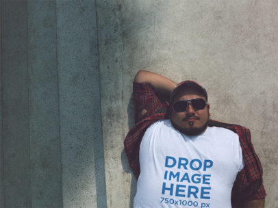 Plus Size Round Neck Tee Mockup of a Guy Lying on His Back a12122