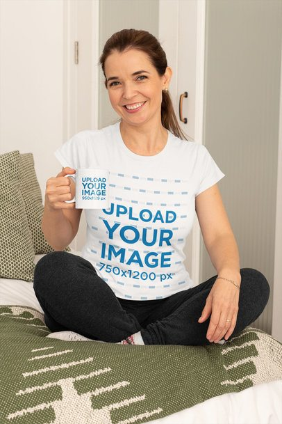 Mockup of a Middle-Aged Woman Wearing a T-Shirt and Holding an 11 oz Coffee Mug at Home 31603