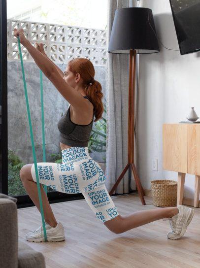 Sports Shorts Mockup Featuring a Woman Exercising at Home 31526