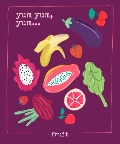 T-Shirt Design Template Featuring Vegetable Illustrations 2289f