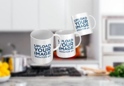 Mockup Featuring Three 11 oz Mugs Floating over a Kitchen Counter 2899-el1