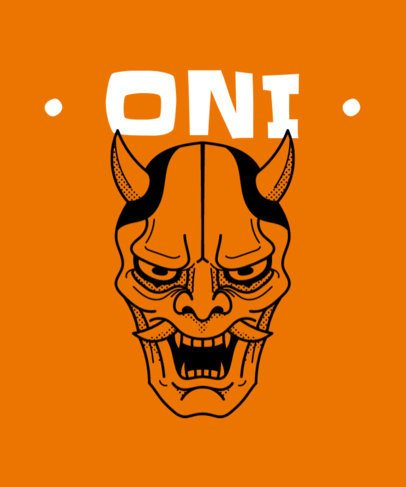 T-Shirt Design Template with a Japanese Oni Mask 2283c