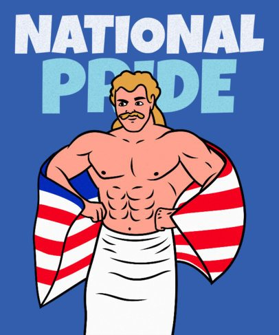 T-Shirt Design Maker Featuring a Proud American Wrestler 2279h