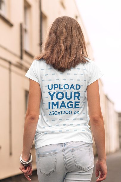 T-Shirt Mockup Featuring a Young Woman Walking Away 2762-el1
