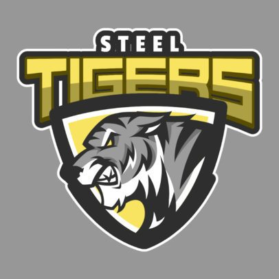 Sports Logo Template with a Fierce Tiger Illustration 1619p-2964