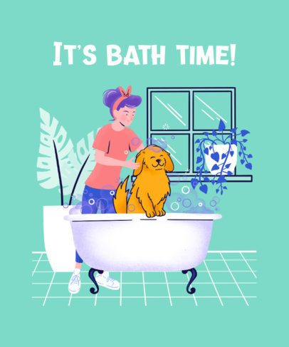 Illustrated T-Shirt Design Generator Featuring a Woman Bathing Her Dog 2275a