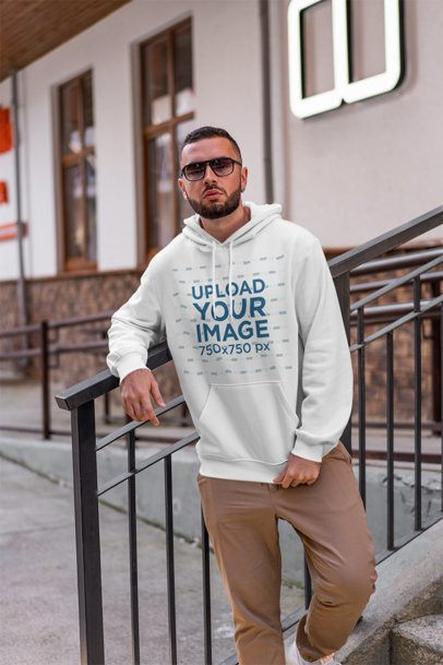 Stylish Mockup of a Man Wearing a Pullover Hoodie and Sunglasses 2277-el1