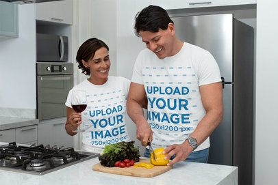 T-Shirt Mockup of a Couple Cutting Vegetables 31677