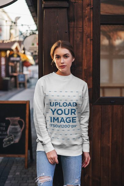 Crewneck Sweatshirt Mockup of a Woman Leaning on a Wooden Wall 2830-el1