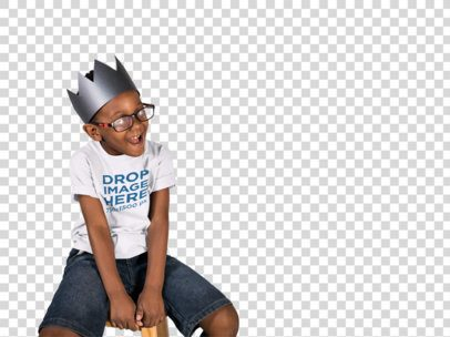 T-Shirt Mockup of a Kid With a Paper Crown 12073