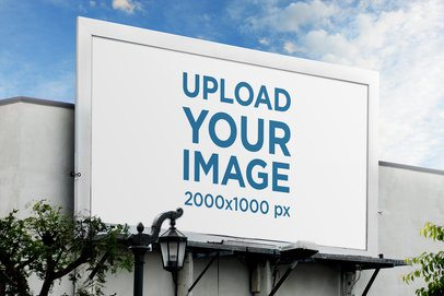 Billboard Mockup Featuring Blue Skies and a Street Lamp 2874-el1