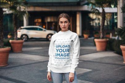 Sweatshirt Mockup of a Woman Posing in the Middle of a Walking Lane 2833-el1
