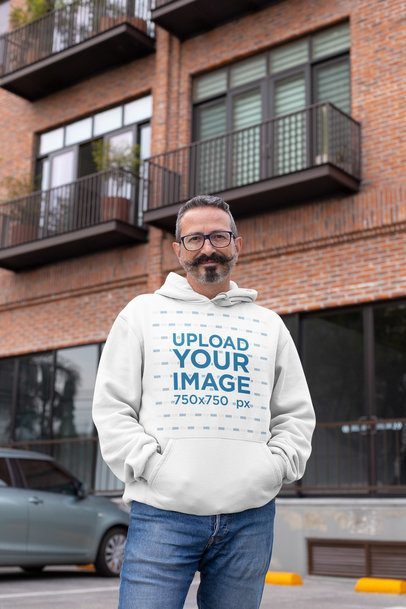 Mockup of a Middle-Aged Man Wearing a Hoodie on the Street 31718