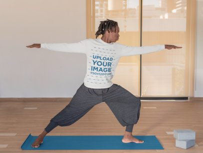 Mockup of  a Man Wearing a Long Sleeve Tee and Practicing Yoga 31116
