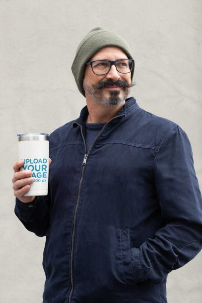Travel Mug Mockup of a Middle-Aged Man with a Stylish Moustache 31722