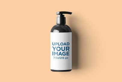 Minimalistic Mockup of a Dispenser Bottle on a Customizable Backdrop 2568-el1