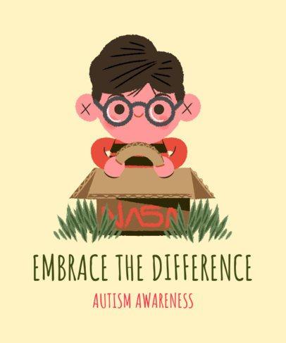 Autism Awareness T-Shirt Design Creator Featuring a Kid Playing with a Cardboard Car 2254d