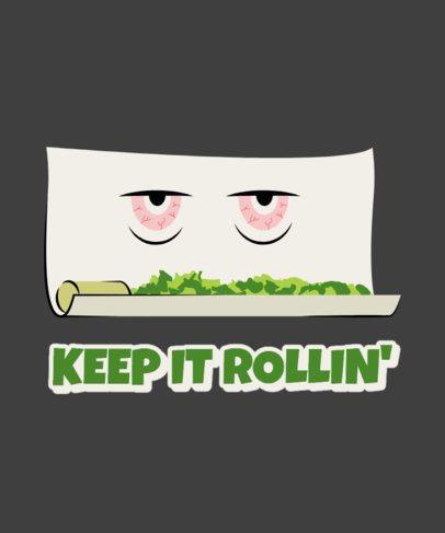 T-Shirt Design Template Featuring a Marijuana Roll Cartoon 2257a