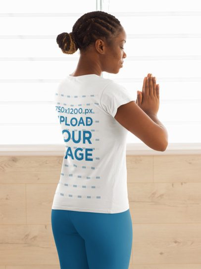 Back View T-Shirt Mockup Featuring a Woman Practicing Yoga 31092