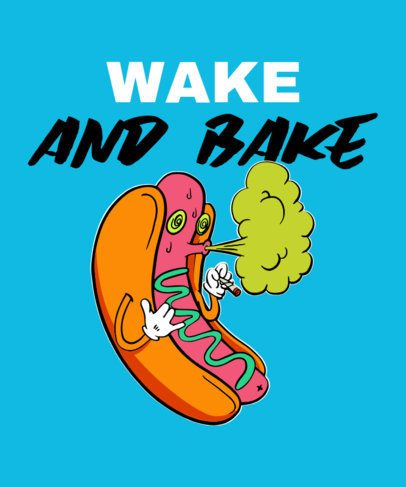 420 T-Shirt Design Creator Featuring a High Hot-Dog Character 2256b