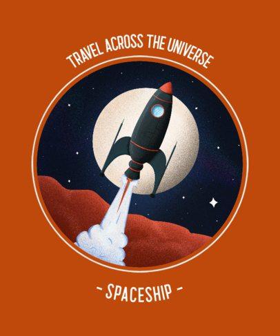 Retro T-Shirt Design Creator Featuring a Spaceship Crossing the Galaxy 2255e