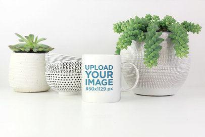 Coffee Mug Mockup Placed Between Some Decoration Plants 2945-el1