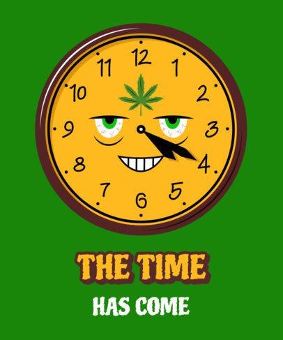 Cannabis Culture T-Shirt Design Template Featuring a Clock Marking 4:20 2257g