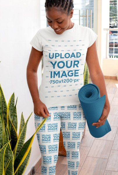 T-Shirt and Leggings Mockup of a Woman Going to Yoga Class 31091