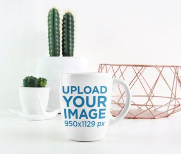 Minimalistic Mockup of an 11 oz Mug Featuring Small Desert Plants 2941-el1