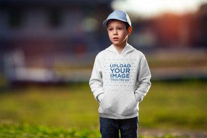 Mockup of a Little Boy Wearing a Heather Pullover Hoodie 2929-el1