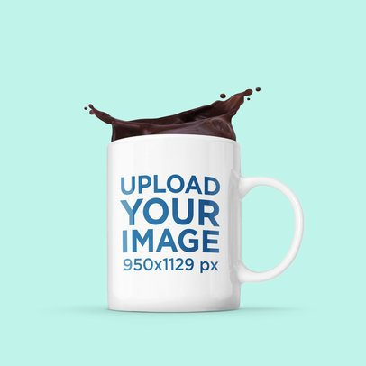 Mockup of an 11 oz Mug with Splashing Coffee 2956-el1