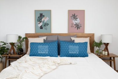 Mockup Featuring Two Horizontal Pillows in a Trendy Bedroom 31297