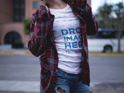 T-Shirt Mockup of a Woman Wearing a Plaid Shirt a12222