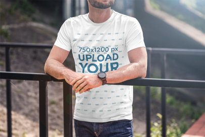 Cropped Face Mockup of a Man Wearing a T-Shirt and Leaning Against a Handrail 2966-el1