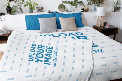 Duvet Cover Mockup of a Bed with a Blanket on Top 31289