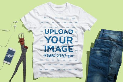 T-Shirt Mockup Featuring a Men's Outfit with Jeans 3005-el1