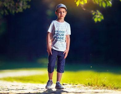 T-Shirt Mockup Featuring a Boy on a Sunny Day 2934-el1