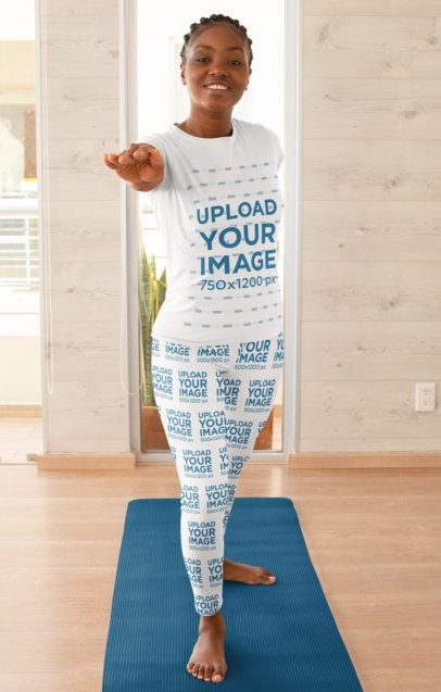 Mockup of a Woman Doing Yoga with a T-Shirt and Leggings 31095