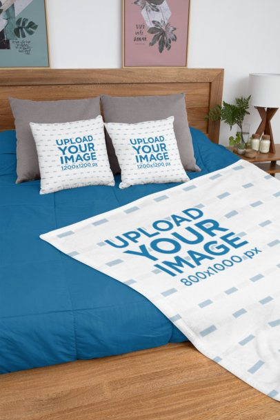 Mockup of Two Pillows and a Blanket Placed on a Tidy Bed 31300