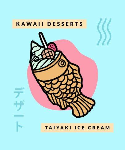 T-Shirt Design Template Featuring Kawaii-Style Dessert Graphics 311-el1