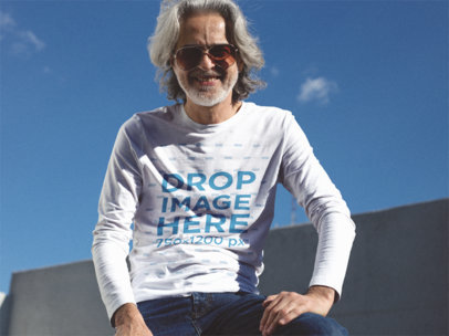 Long Sleeve Tee Mockup of an Older Hipster Guy with Sunglasses a12243