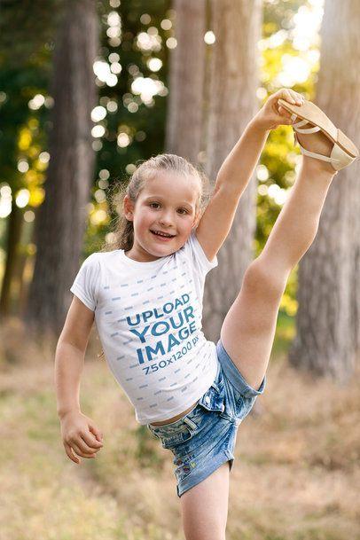 T-Shirt Mockup of a Girl Doing a Standing Split 2909-el1