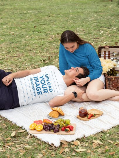 T-Shirt Mockup Featuring a Couple at a Picnic 32282