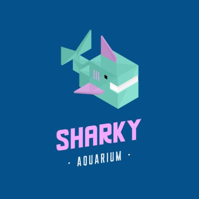 Aquarium Logo Maker with an Isometric Shark Cartoon 922B-el1