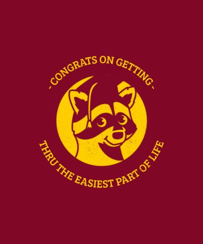 T-Shirt Design Template Featuring Graduation Animal Graphics 2304